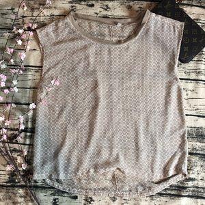 Halogen sheer short sleeve blouse small